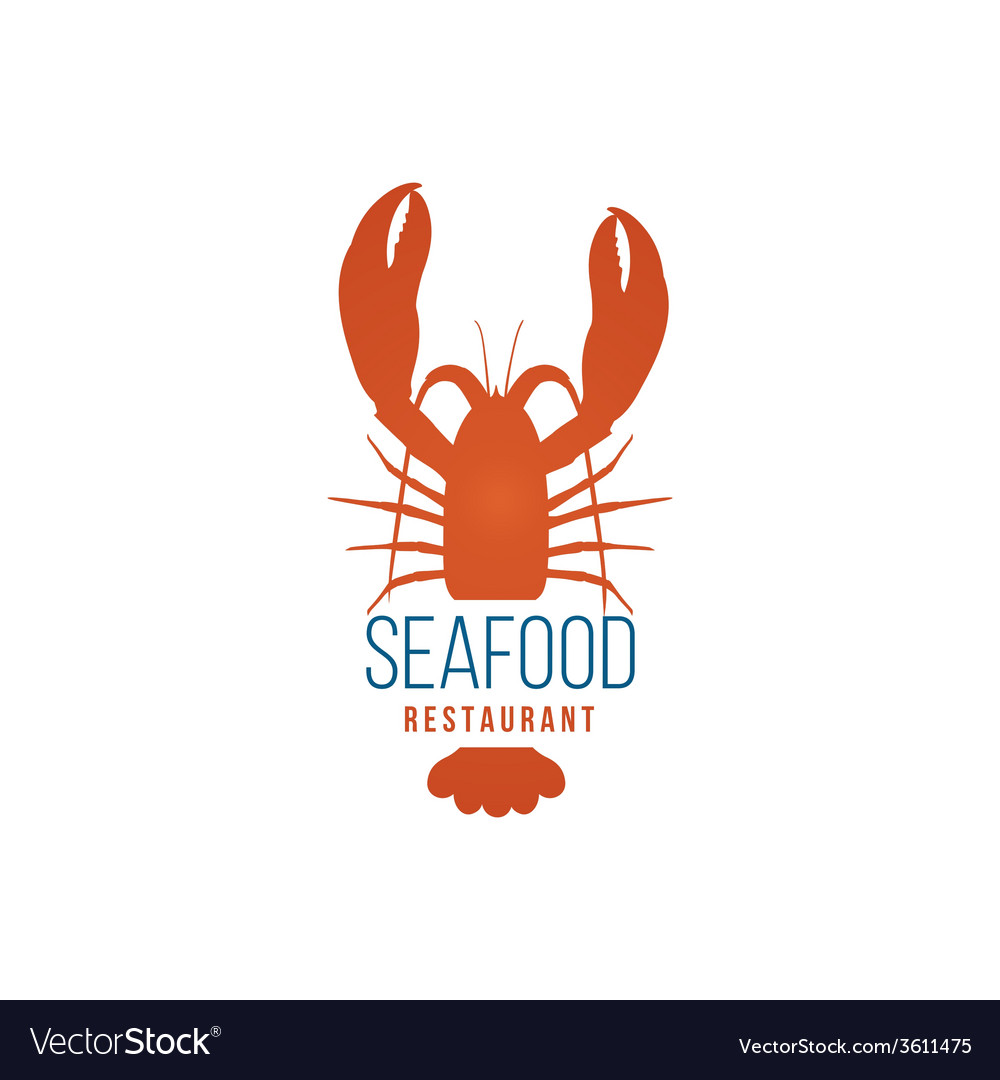 Seafood restaurant logo template with lobster vector | Price: 1 Credit (USD $1)