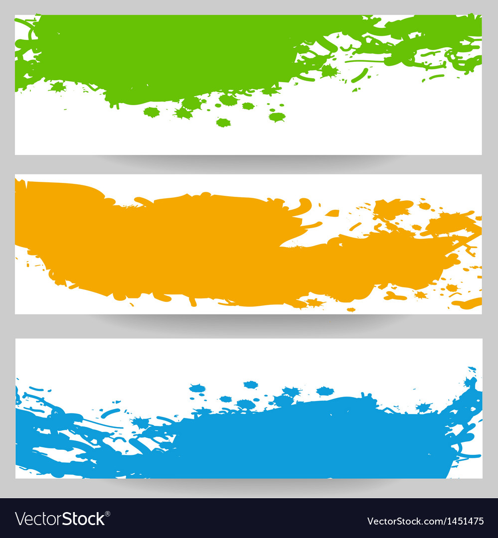Set of banners with paint splash vector | Price: 1 Credit (USD $1)