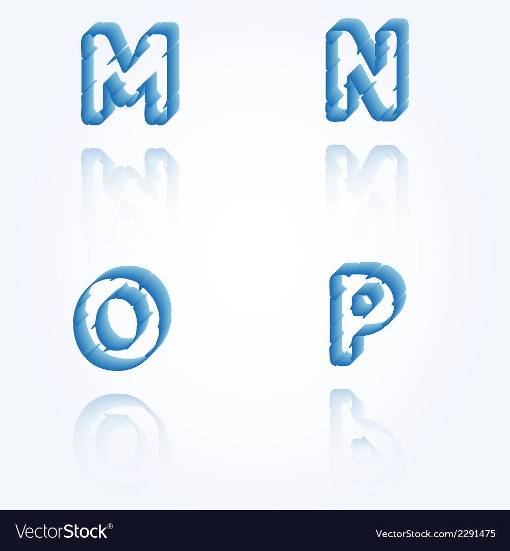 Sketch jagged alphabet letters m n o p vector | Price: 1 Credit (USD $1)