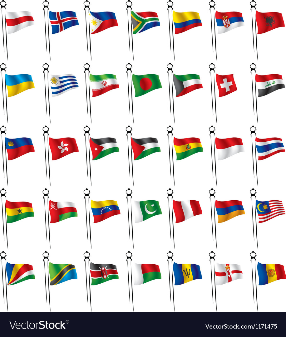 World flags with - flagstaff vector | Price: 1 Credit (USD $1)