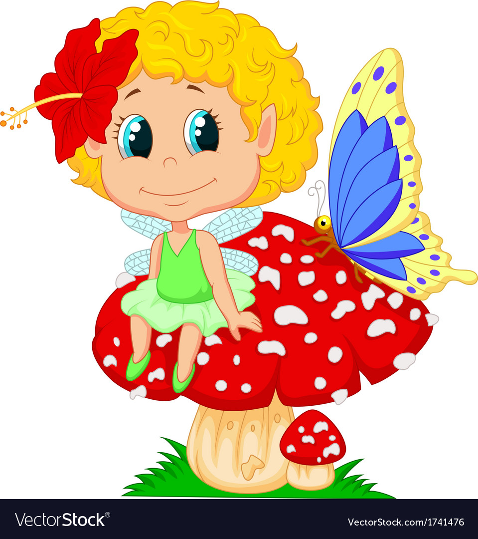 Baby fairy elf cartoon sitting on mushroom vector | Price: 3 Credit (USD $3)