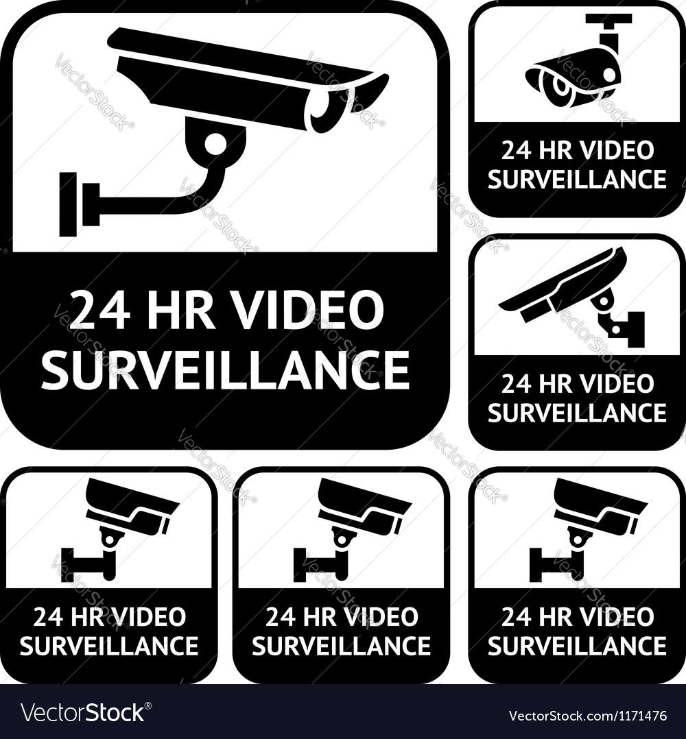 Cctv labels set symbols video surveillance vector | Price: 1 Credit (USD $1)