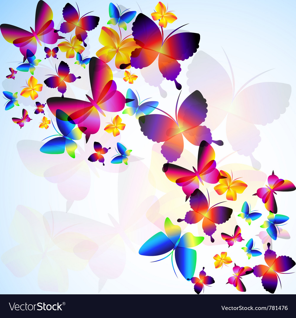 Colorful background with butterfly vector | Price: 1 Credit (USD $1)