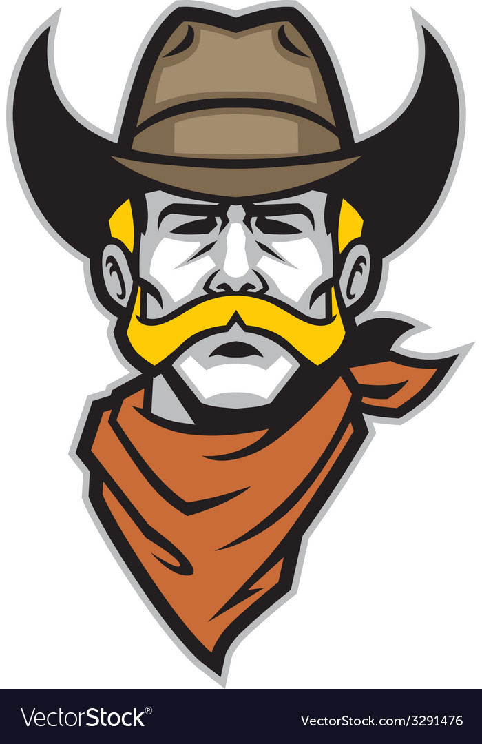 Cowboy head mascot vector | Price: 1 Credit (USD $1)