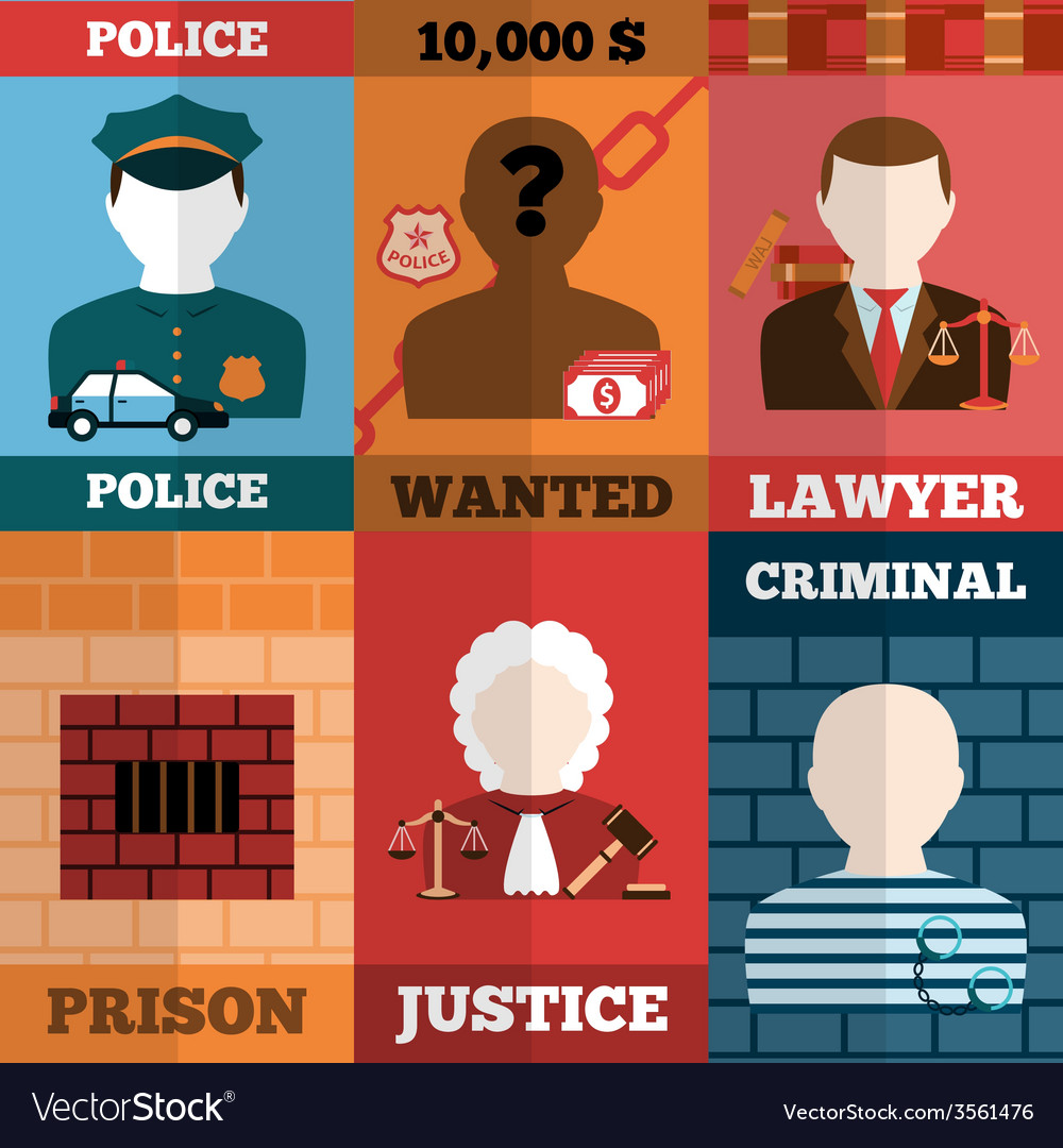 Crime and punishment poster set vector | Price: 1 Credit (USD $1)