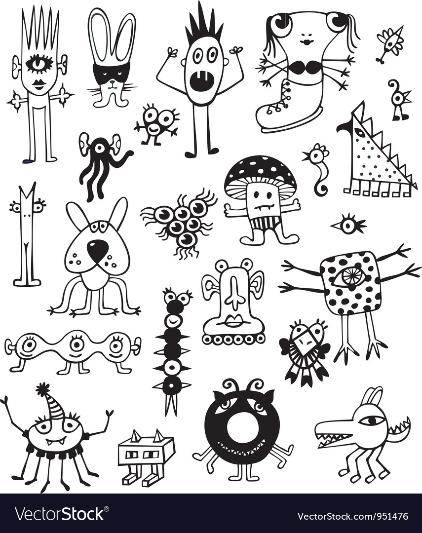 Cute black and white monsters vector | Price:  Credit (USD $)