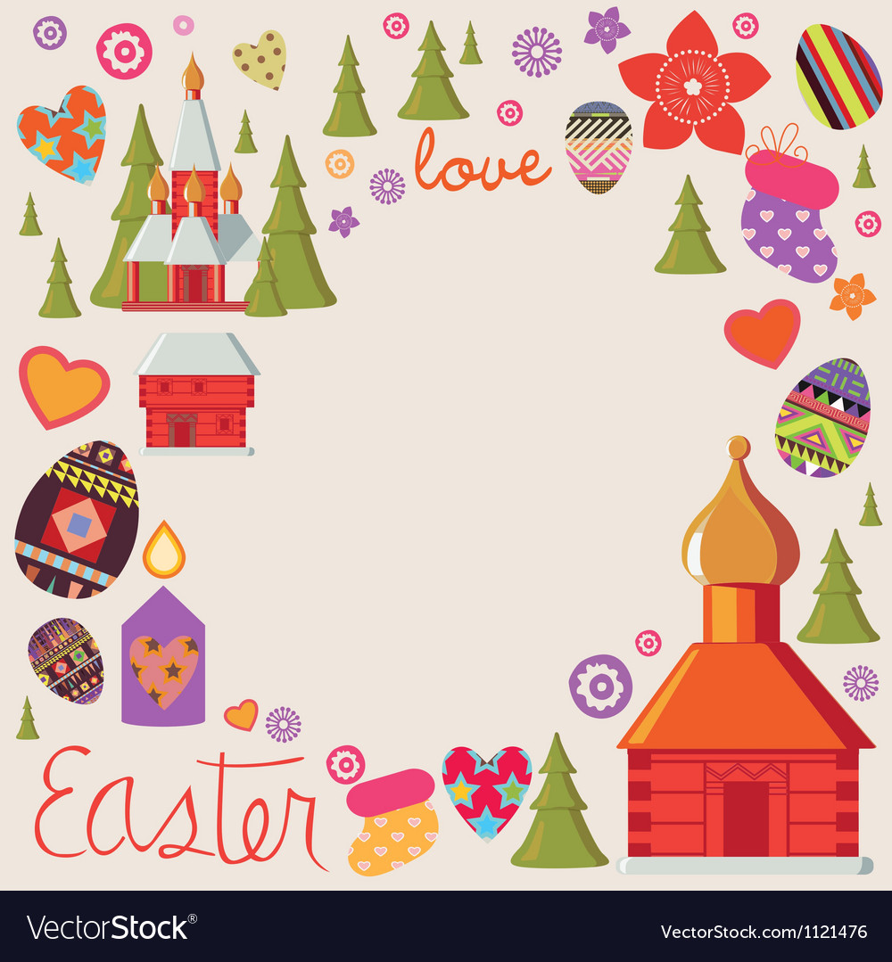 Easter card with a set of art elements vector | Price: 1 Credit (USD $1)