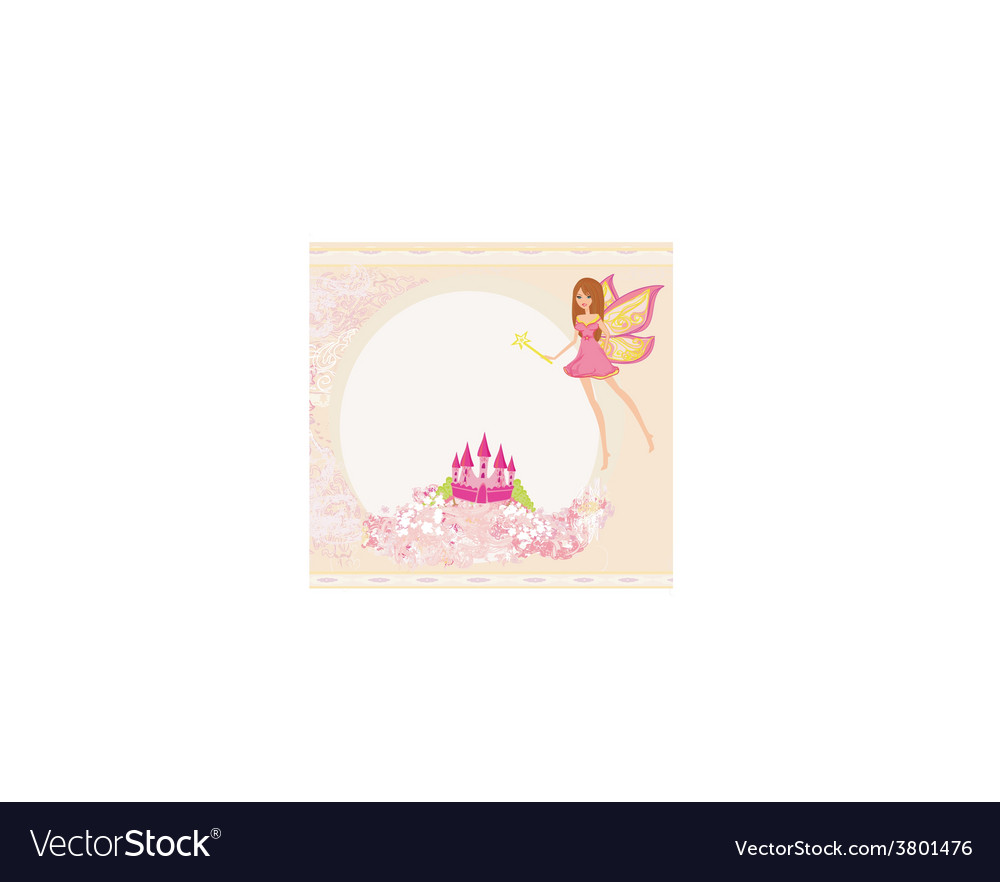 Fairy with magic wand flying above castle vector | Price: 1 Credit (USD $1)
