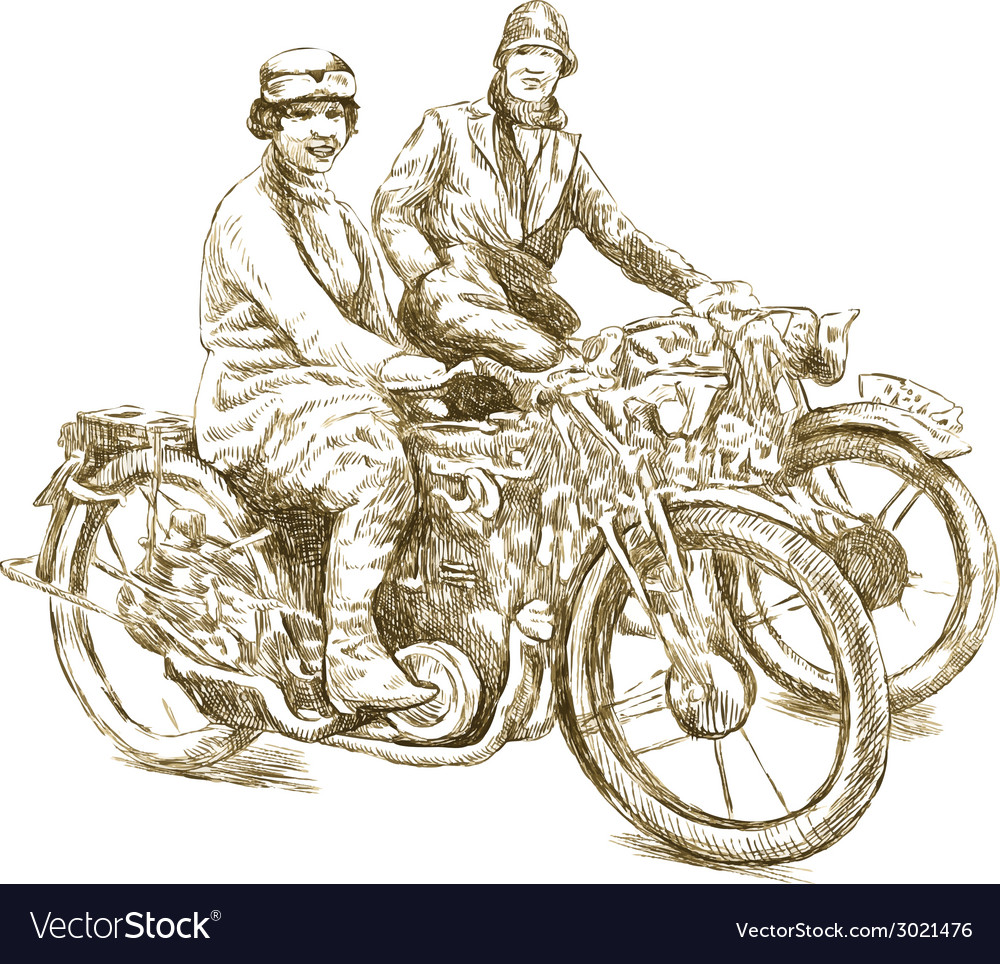 Girls on a motorcycles vector | Price: 1 Credit (USD $1)