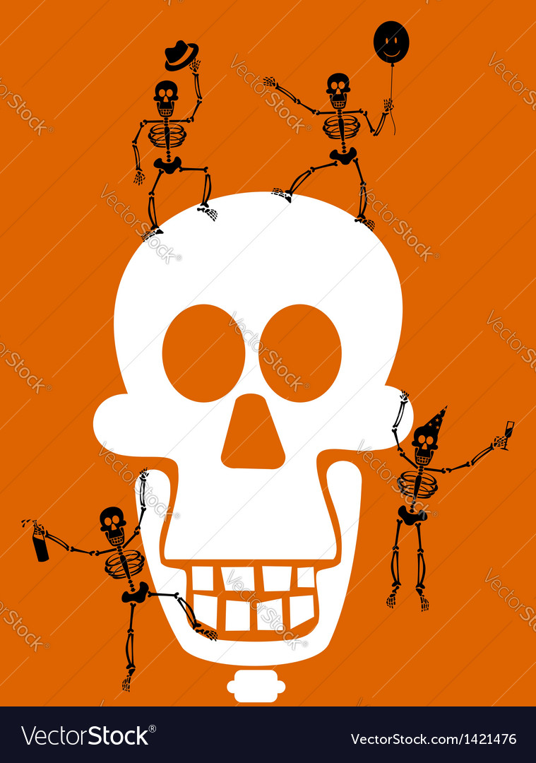 Halloween skull and skeletons greeting card vector | Price: 1 Credit (USD $1)