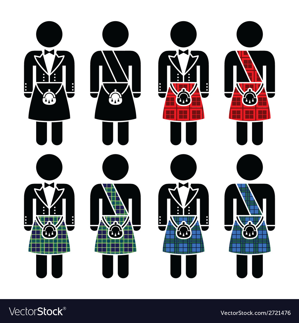 Scotsman man wearing kilt icons set vector | Price: 1 Credit (USD $1)