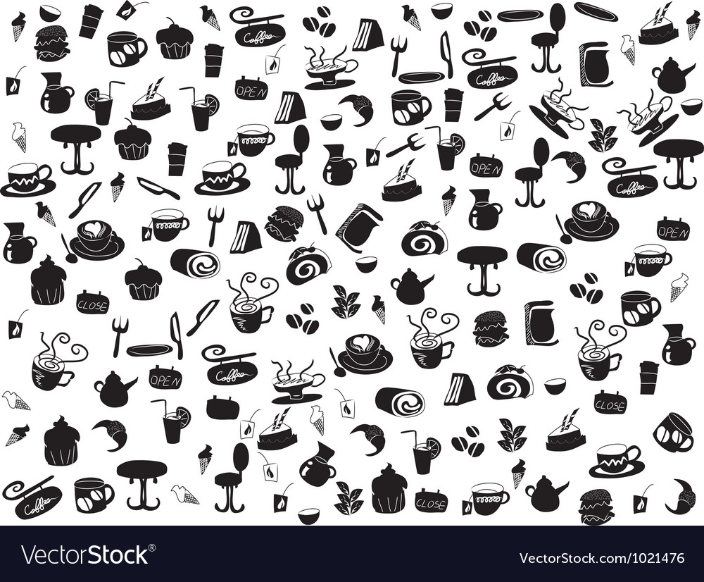 Seamless doodle coffee and tea patterns vector | Price: 1 Credit (USD $1)