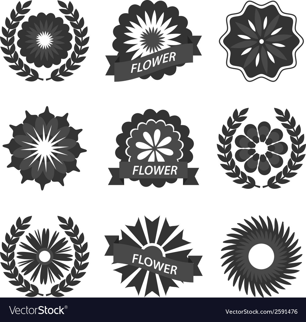Set of vintage flowers ribbons and labels vector | Price: 1 Credit (USD $1)