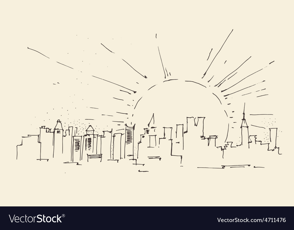 Sunrise in new york city architecture vintage vector | Price: 1 Credit (USD $1)