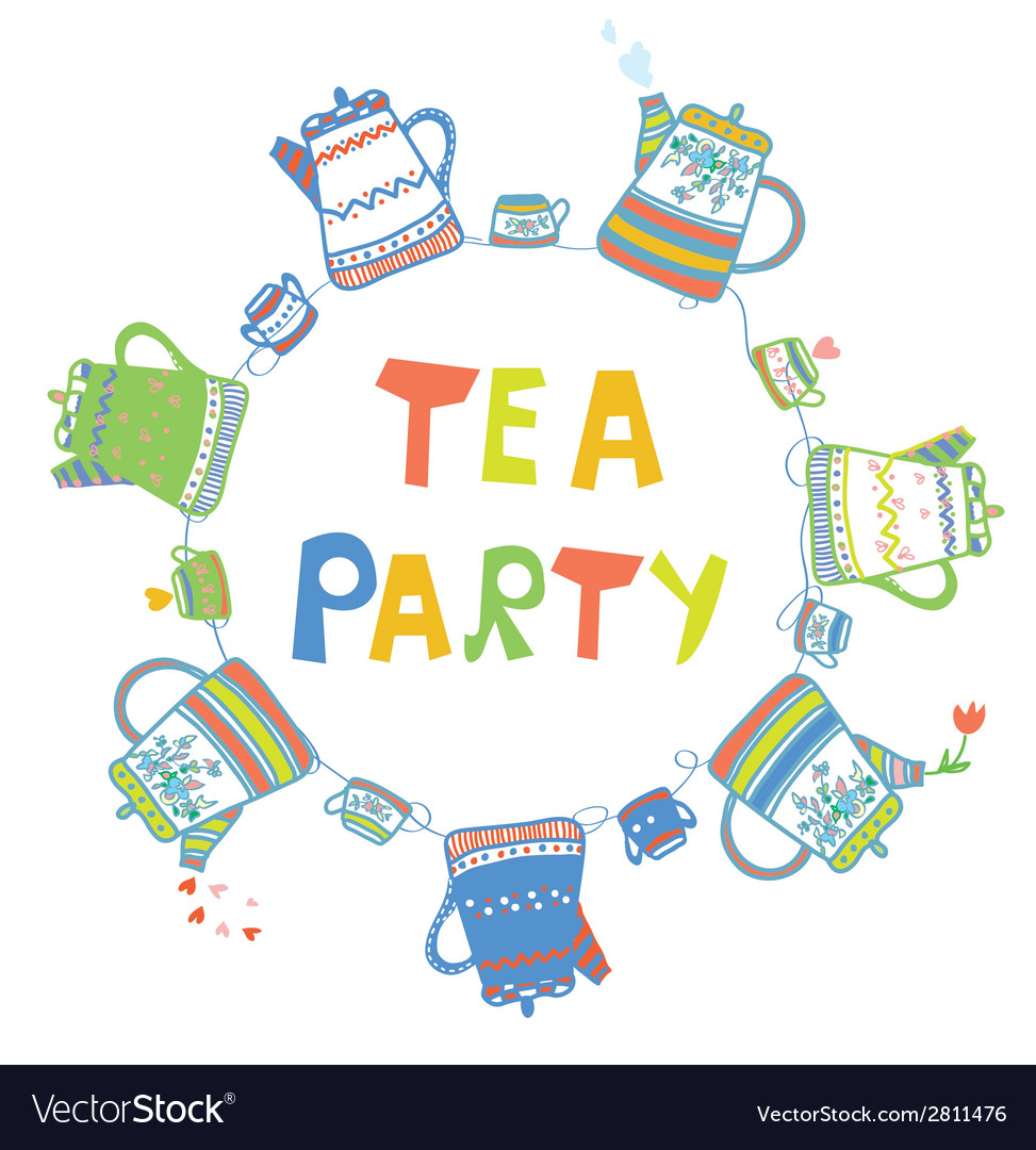 Tea party card with pots and cups vector | Price: 1 Credit (USD $1)
