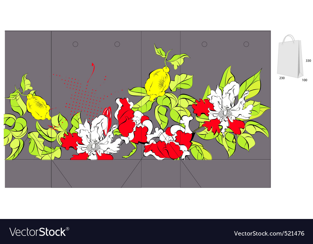 Template for bag with flowers vector | Price: 1 Credit (USD $1)