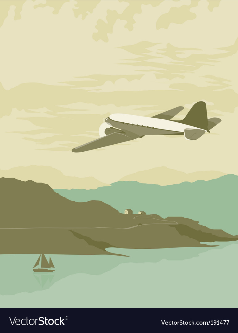 Airplane over bay poster vector | Price: 1 Credit (USD $1)