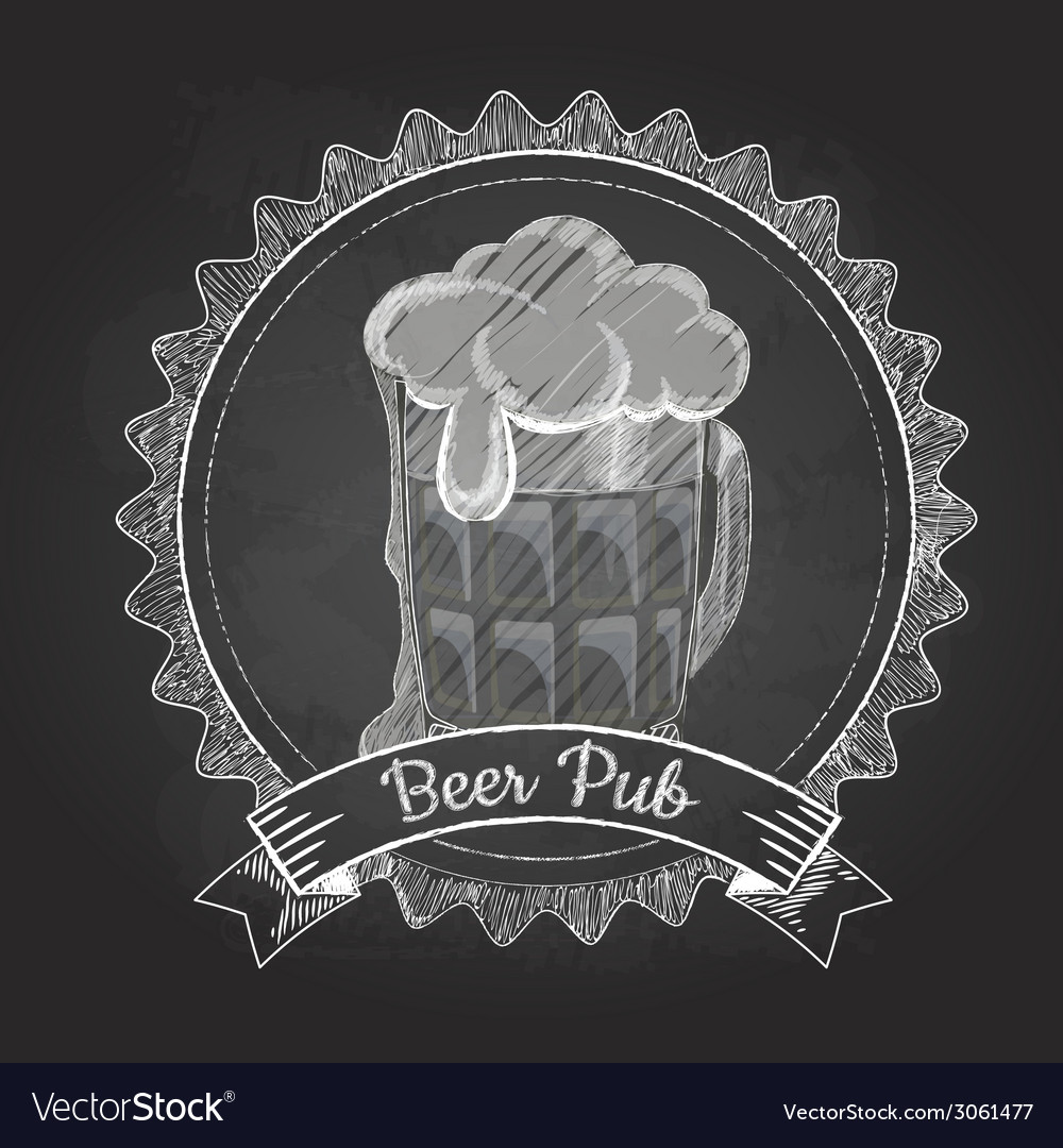 Beer in mag chalk drawing vector | Price: 1 Credit (USD $1)