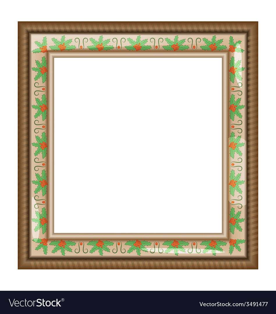 Brown frame with holly isolated on white vector | Price: 1 Credit (USD $1)