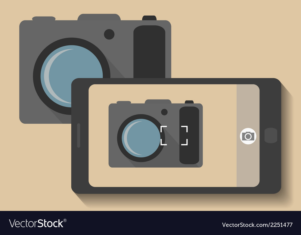Camera phone taking photo of camera vector | Price: 1 Credit (USD $1)