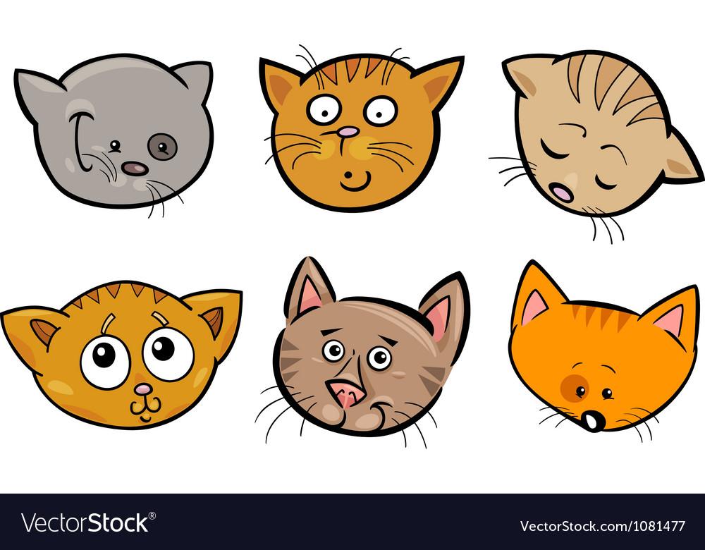 Cartoon funny cats heads set vector | Price: 3 Credit (USD $3)