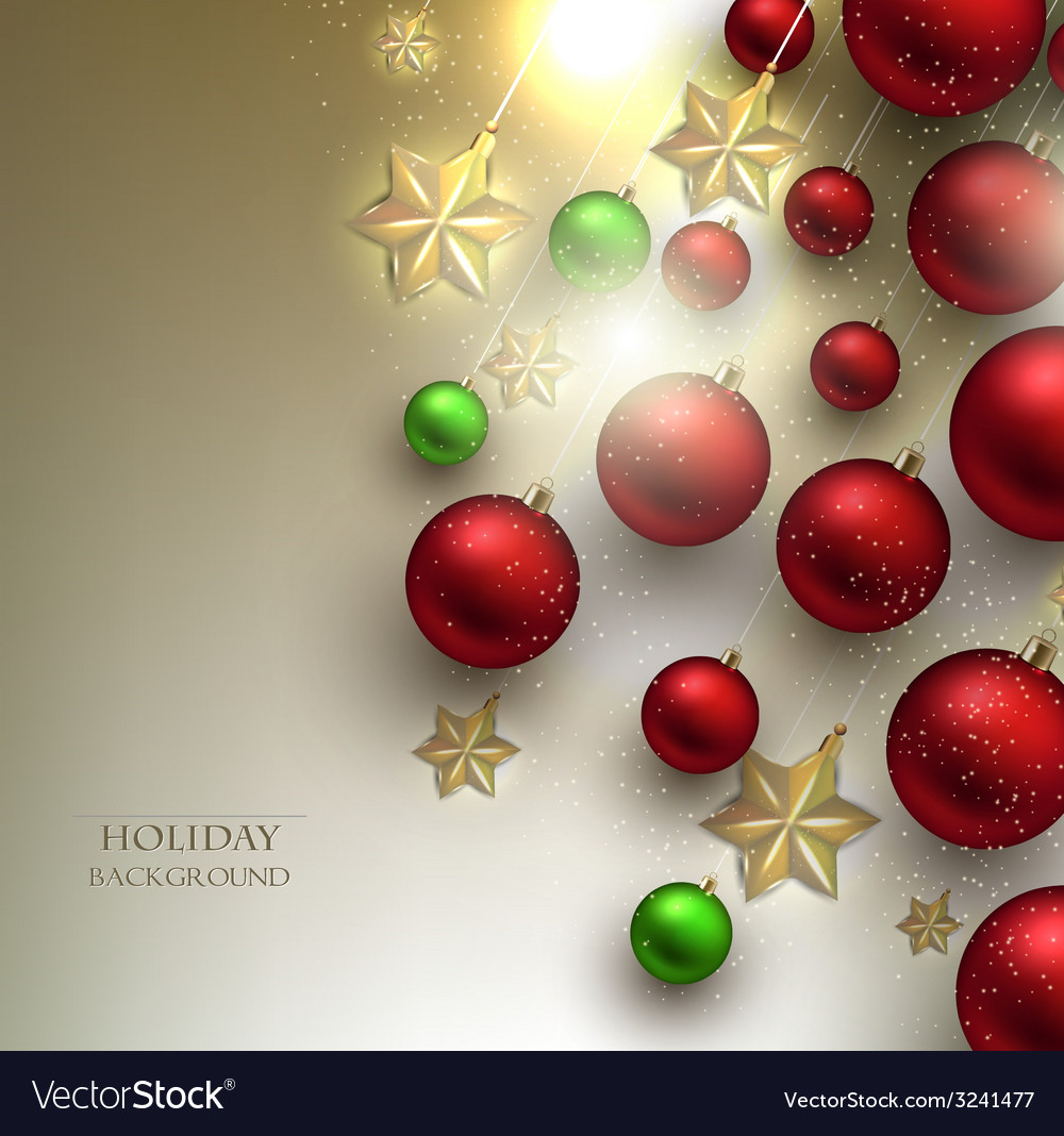 Christmas background with balls red and golden vector | Price: 3 Credit (USD $3)