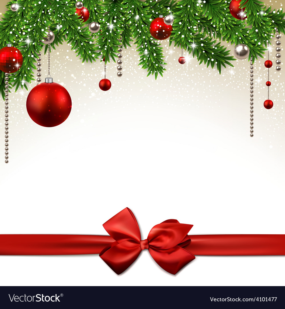 Christmas background with fir branches and balls vector | Price: 1 Credit (USD $1)