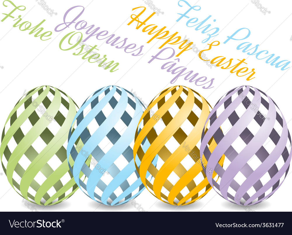 Easter background with four languages vector | Price: 1 Credit (USD $1)