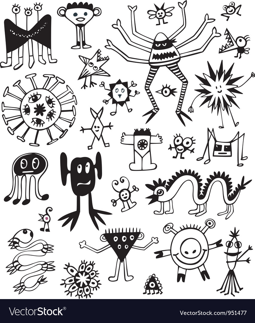 Funny cute black and white monsters vector | Price: 1 Credit (USD $1)