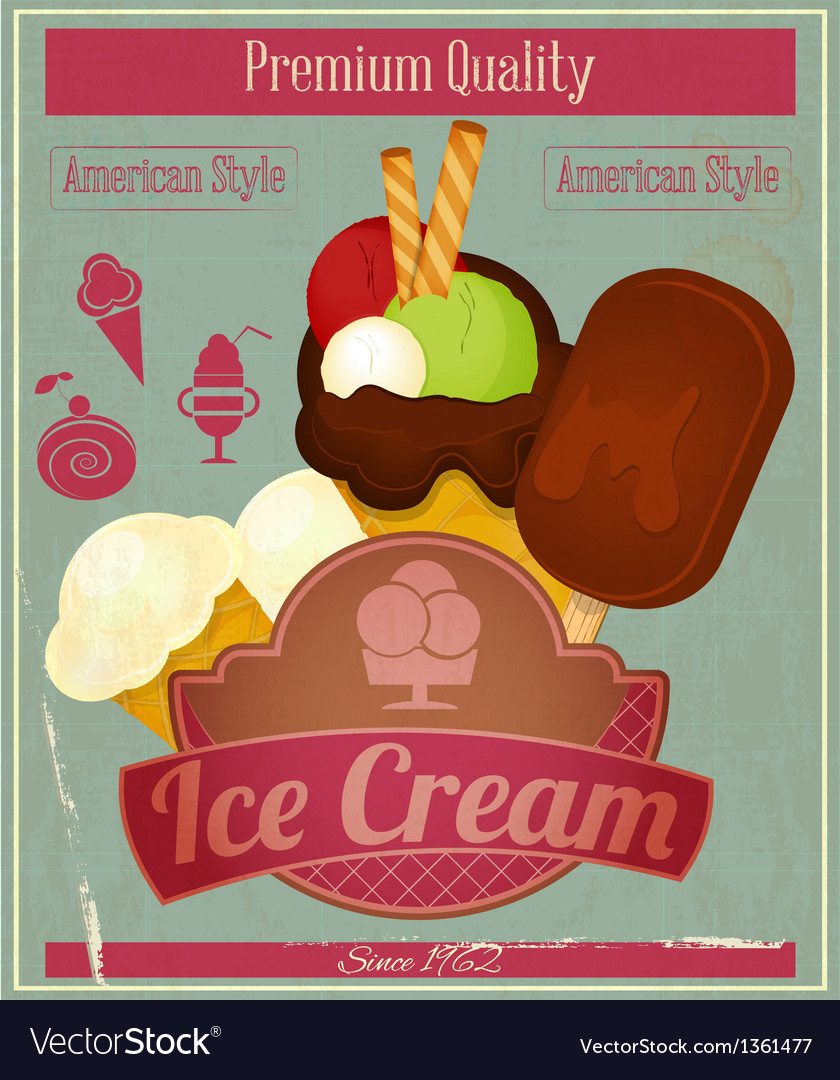 Ice cream vintage card menu vector | Price: 3 Credit (USD $3)