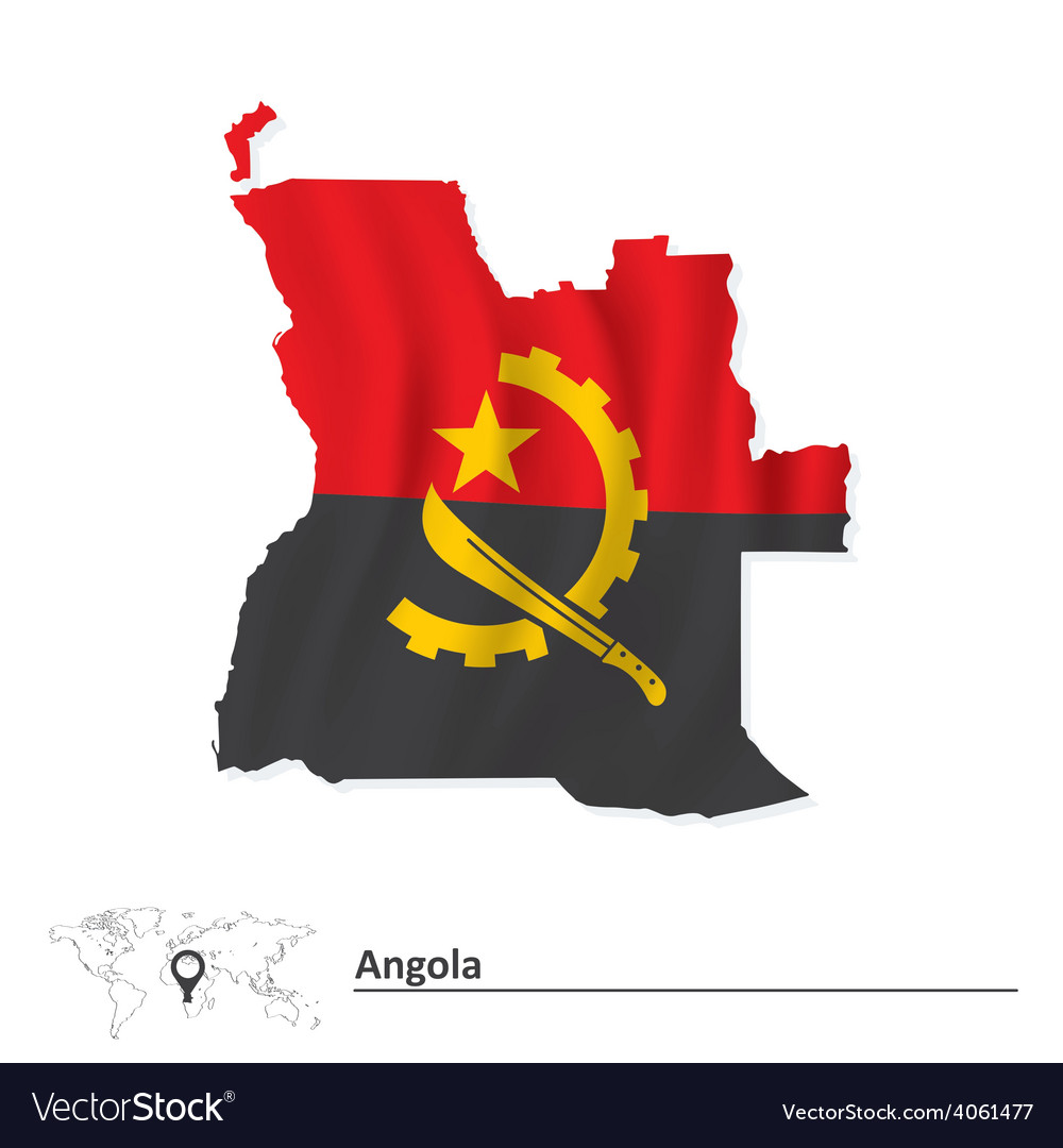 Map of angola with flag vector | Price: 1 Credit (USD $1)
