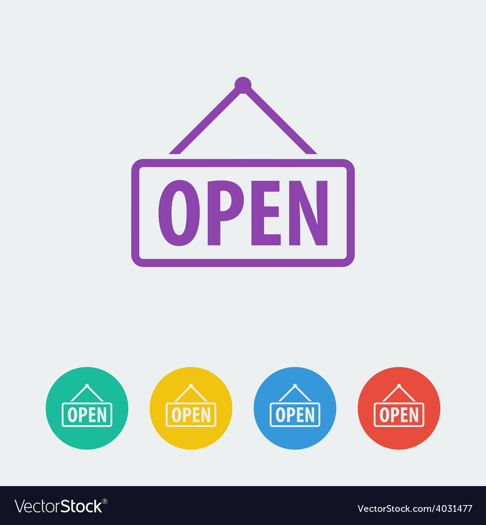 Open flat circle icon vector | Price: 1 Credit (USD $1)
