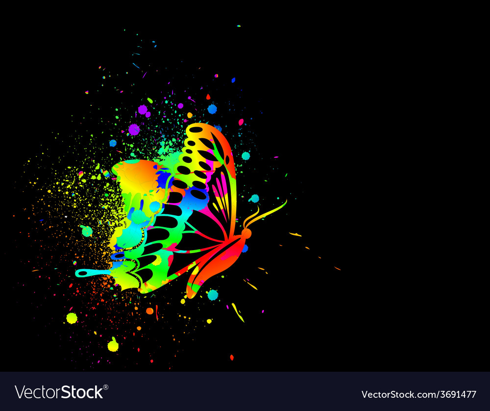 Rainbow ink butterfly on black background vector | Price: 1 Credit (USD $1)