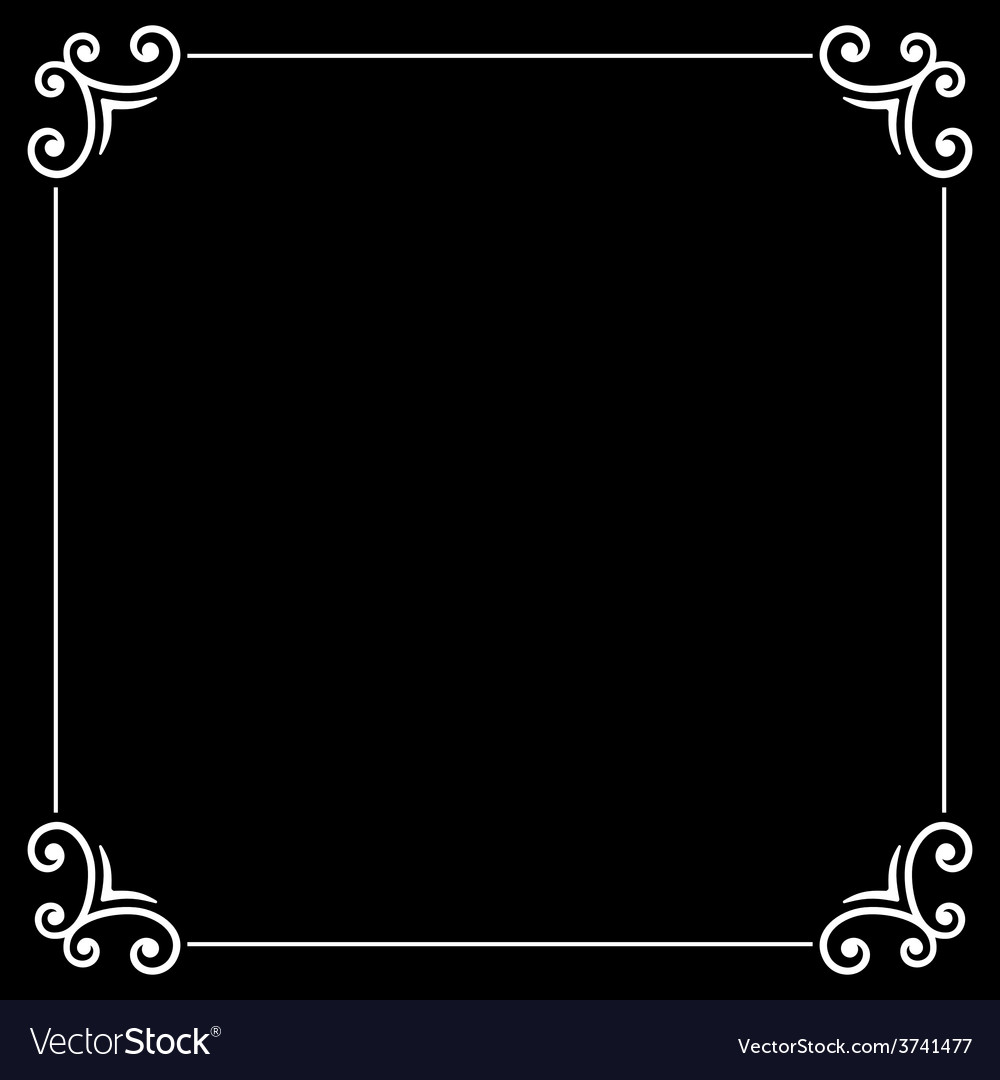 Retro silent movie calligraphic frame on black vector | Price: 1 Credit (USD $1)