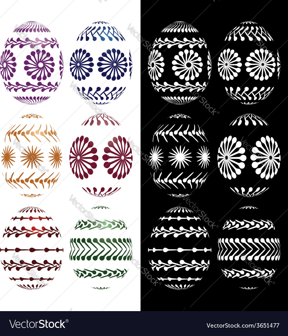 Set of easter eggs silhouettes vector | Price: 1 Credit (USD $1)