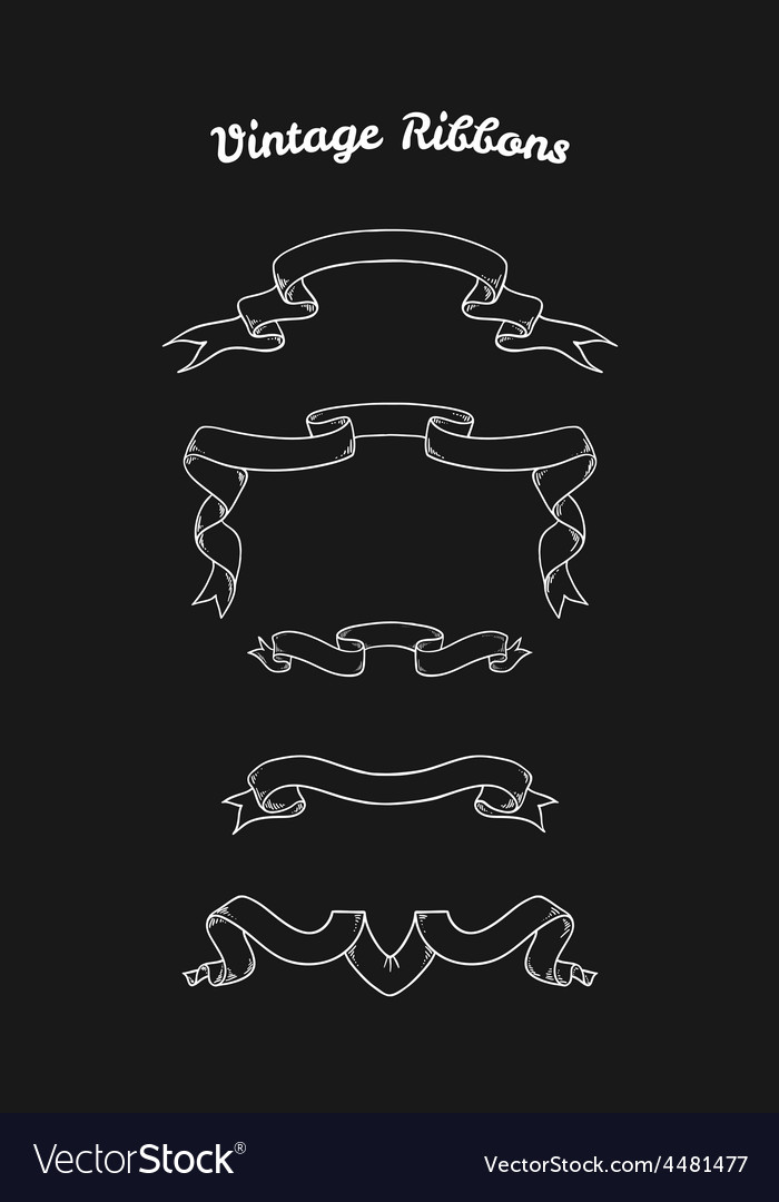 Set of hand drawn vintage ribbons for your design vector | Price: 1 Credit (USD $1)