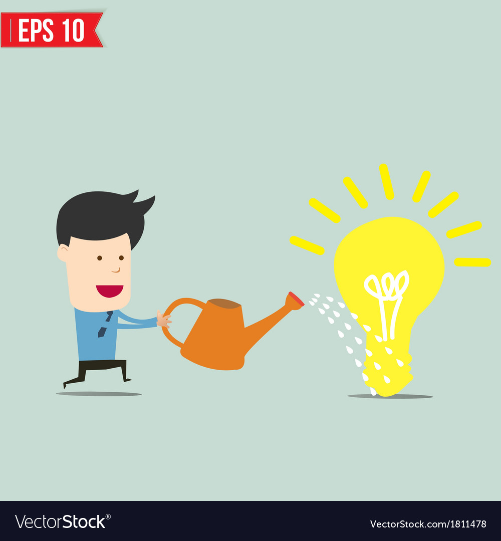 Businessman watering idea - - eps10 vector | Price: 1 Credit (USD $1)