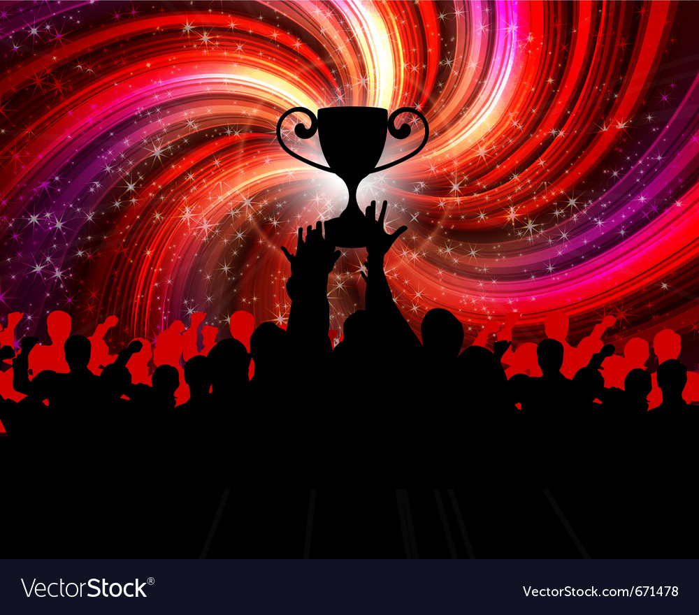 Cheering crowd with trophy vector | Price: 1 Credit (USD $1)