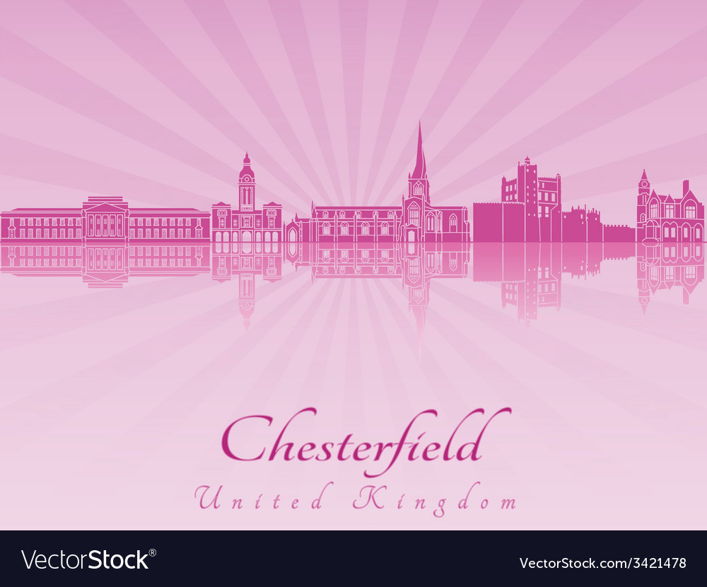Chesterfield skyline in purple radiant orchid vector | Price: 1 Credit (USD $1)