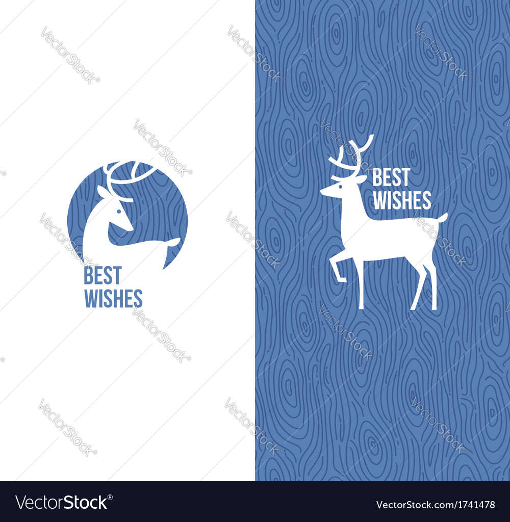 Deer on retro wooden blue background vector | Price: 1 Credit (USD $1)