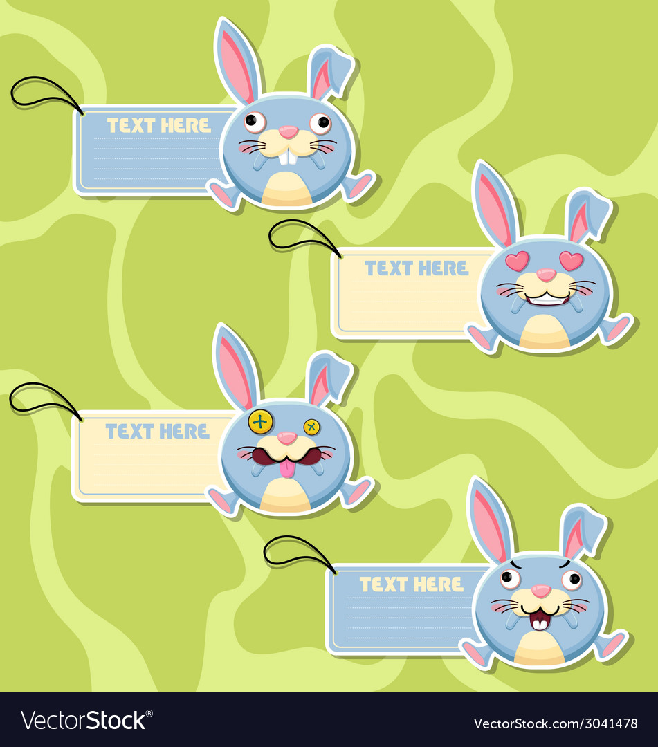 Four cute cartoon rabbits stickers vector | Price: 1 Credit (USD $1)