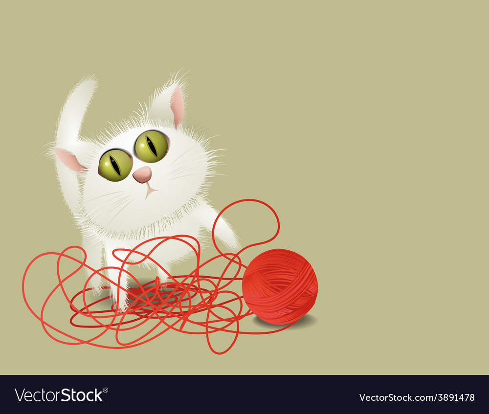 Little cat playing with ball of wool vector | Price: 1 Credit (USD $1)