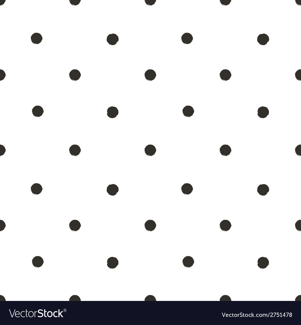 Polka dot black and white painted seamless pattern vector | Price: 1 Credit (USD $1)