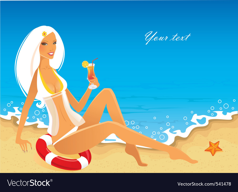 Tropic back sea girl vector | Price: 3 Credit (USD $3)