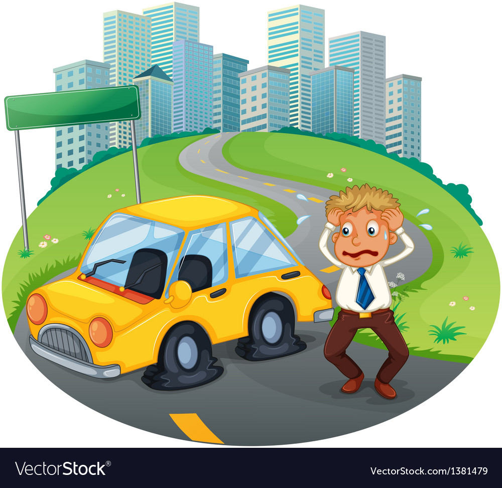 A car accident in the curve road near the empty vector | Price: 1 Credit (USD $1)