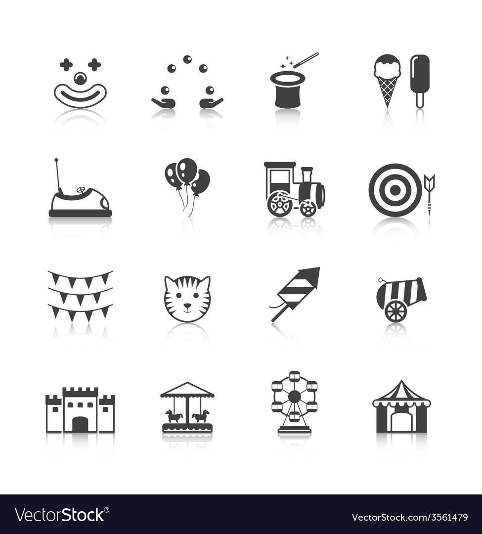 Amusement park icons black vector | Price: 1 Credit (USD $1)