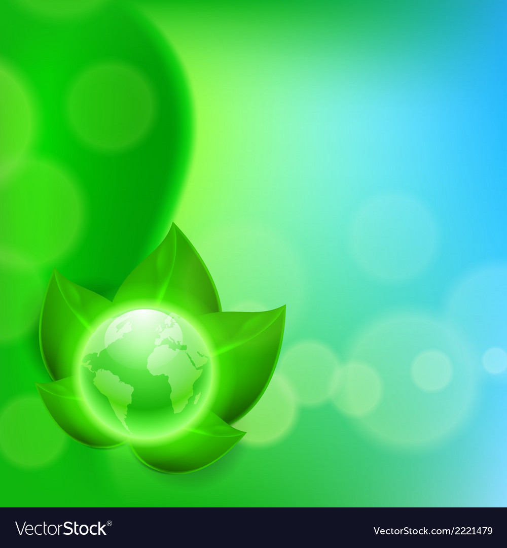 Background with green leaves and the globe vector   Price: 1 Credit (USD $1)
