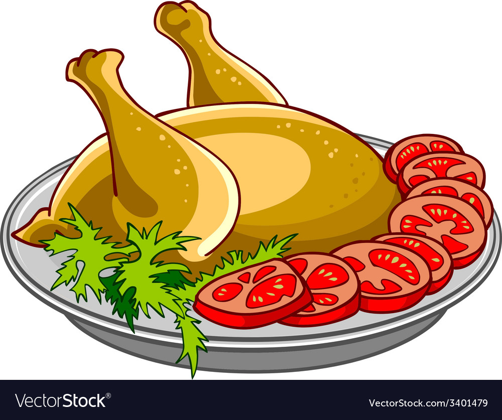 Chicken baked with vegetables on a platter vector | Price: 1 Credit (USD $1)