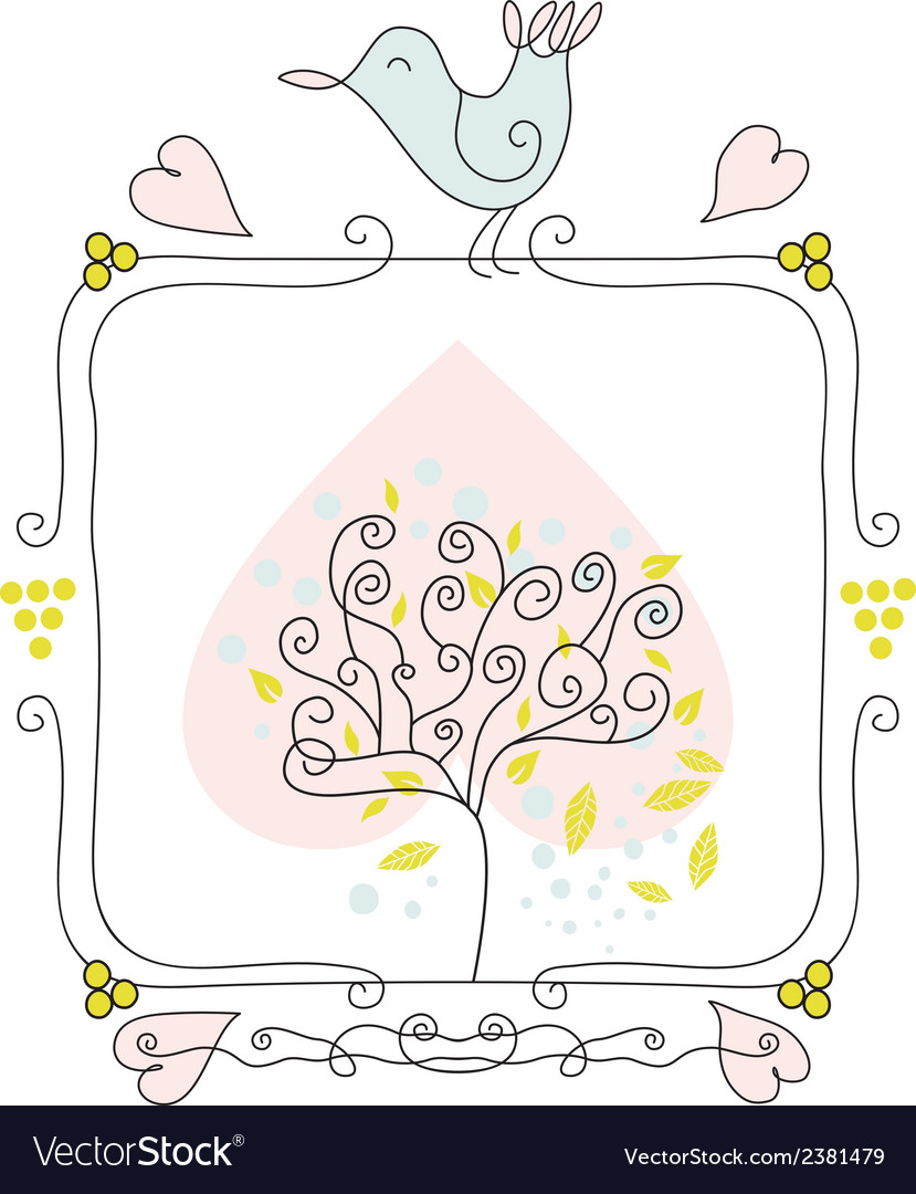 Cute fame with bird and tree vector | Price: 1 Credit (USD $1)