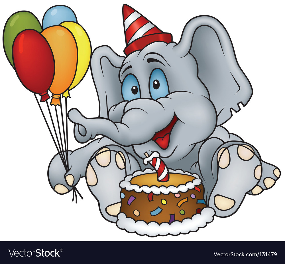 Elephant happy birthday vector | Price: 1 Credit (USD $1)